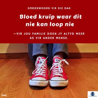 Afrikaanse Idioom: Bloed kruip waar dit nie loop nie