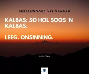 Afrikaanse Idiome: Kalbas, so hol soos 'n kalbas. Leeg, onsinnig