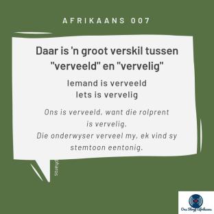 verveeld en vervelig in afrikaans