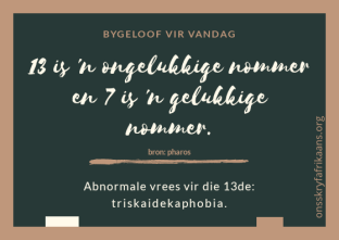 ou afrikaanse bygeloof - nommers